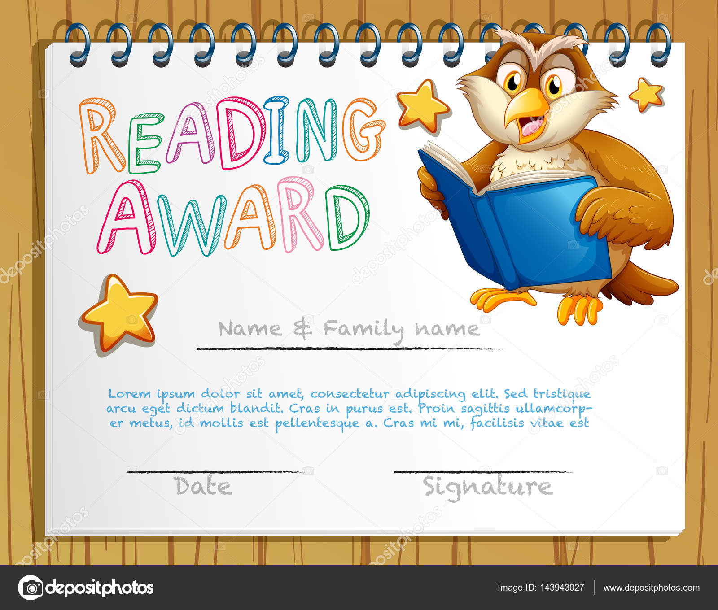 Zertifikat-Vorlage mit Eule Lesebuch — Stockvektor © interactimages ...