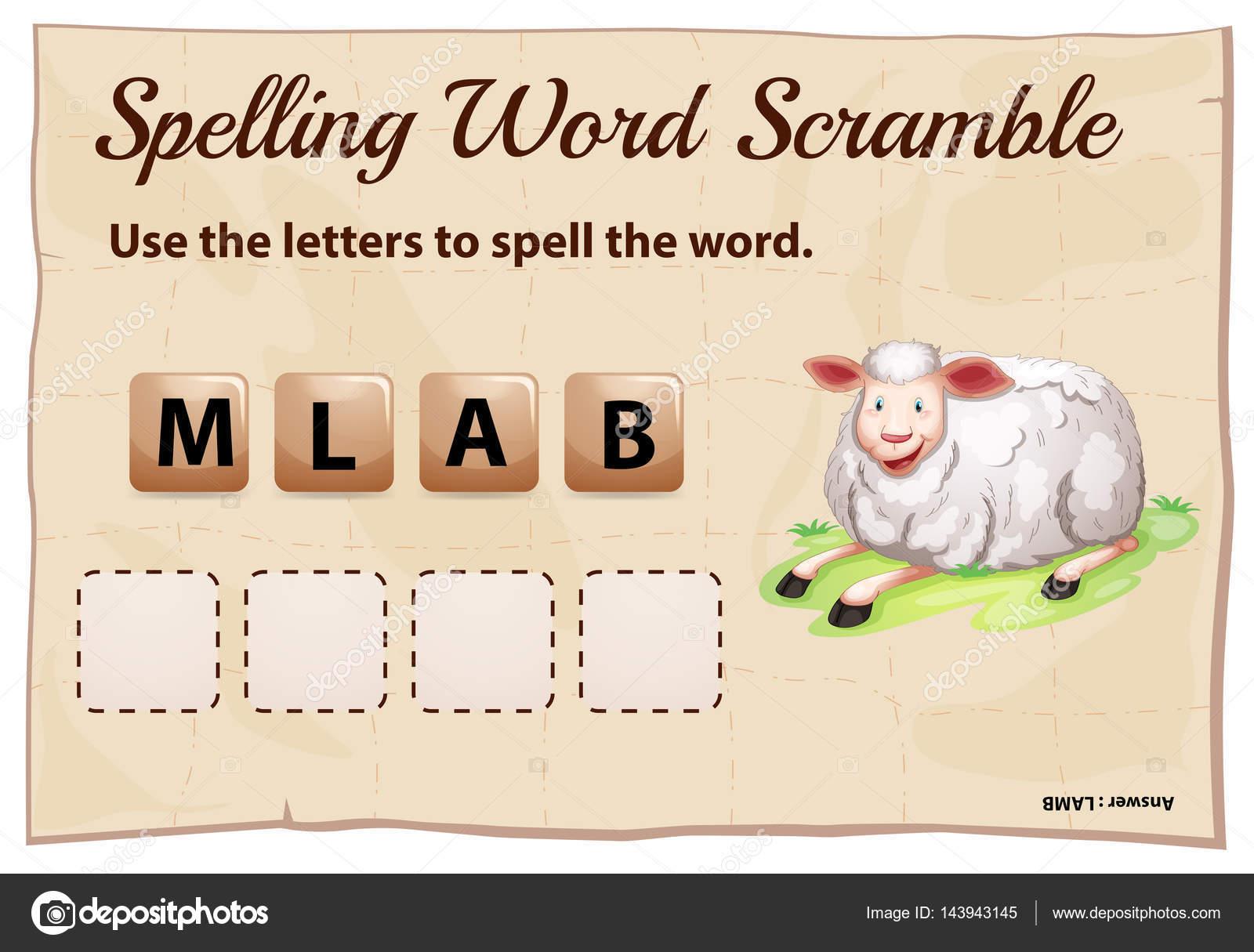 Ortografía la plantilla de word scramble con cordero de la palabra ...