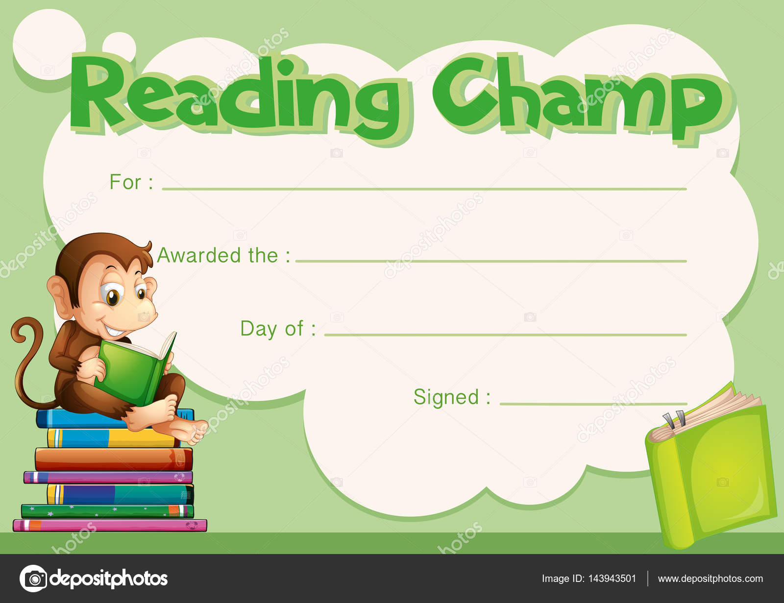 certificate template with monkey reading book � stock