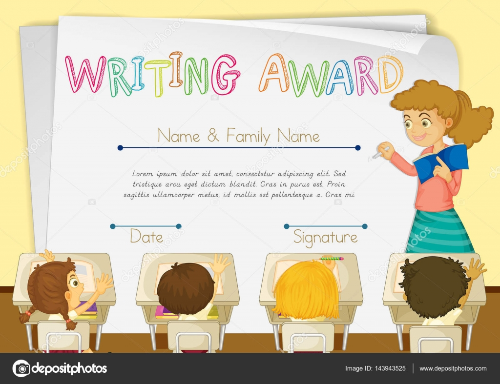 Zertifikat-Vorlage für das Schreiben von award — Stockvektor ...