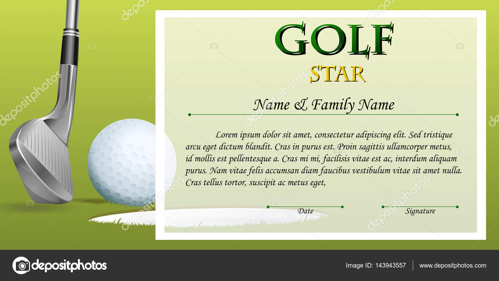 Certificate template for golf star with green background stock certificate template for golf star with green background illustration vector by interactimages yelopaper Choice Image