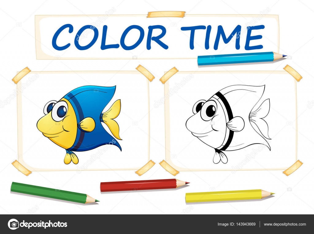 Fish Template To Color Coloring Template For Cute Fish Stock Vector C Interactimages 143943669