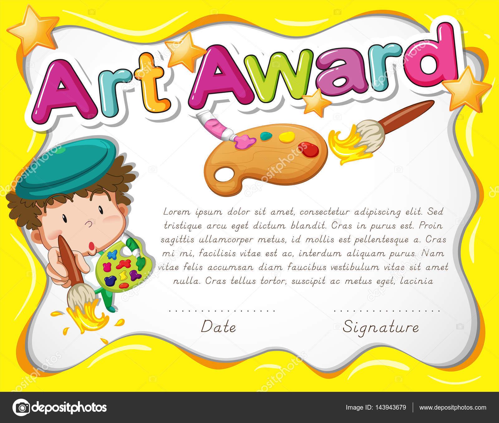Zertifikat-Vorlage mit dem Künstler und Aquarell — Stockvektor ...