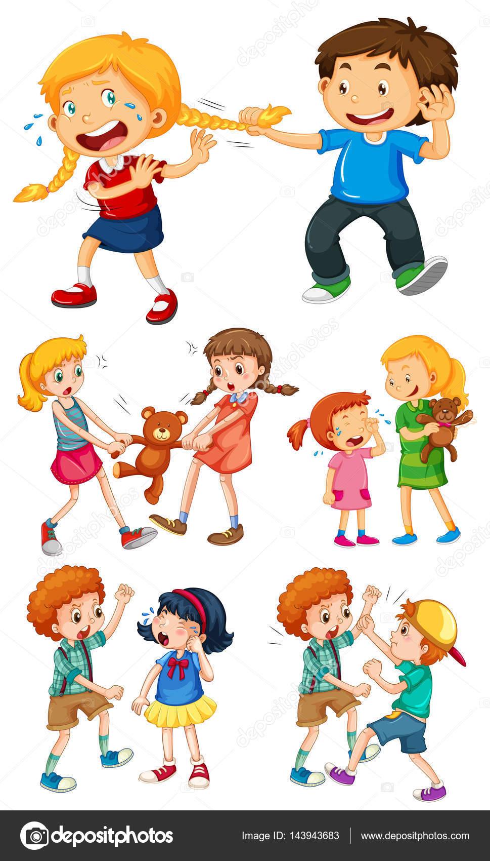 Große Kinder kämpfen mit kleinen Kindern — Stockvektor ...