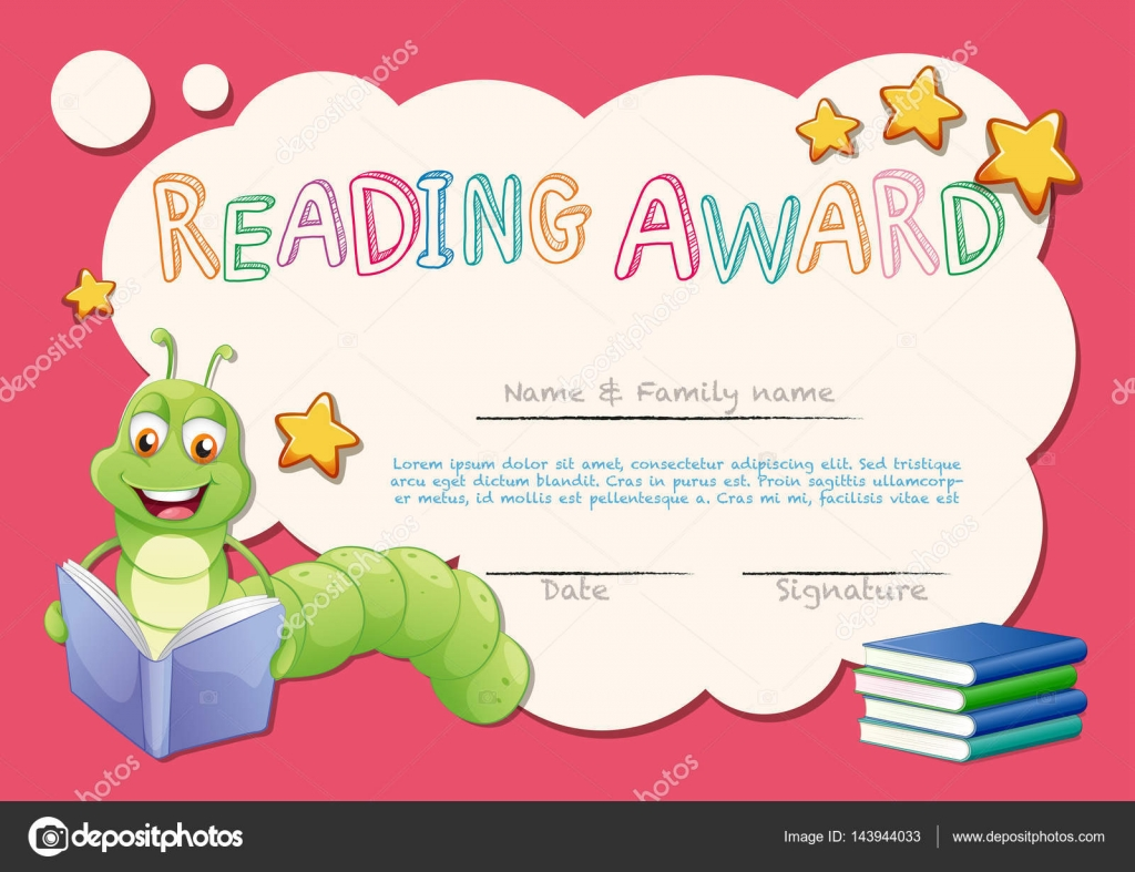 Certificate template for reading award stock vector certificate template for reading award illustration vector by interactimages yadclub Images