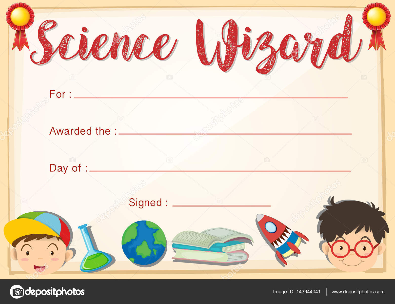 Certificate Template For Science Wizard Stock Vector