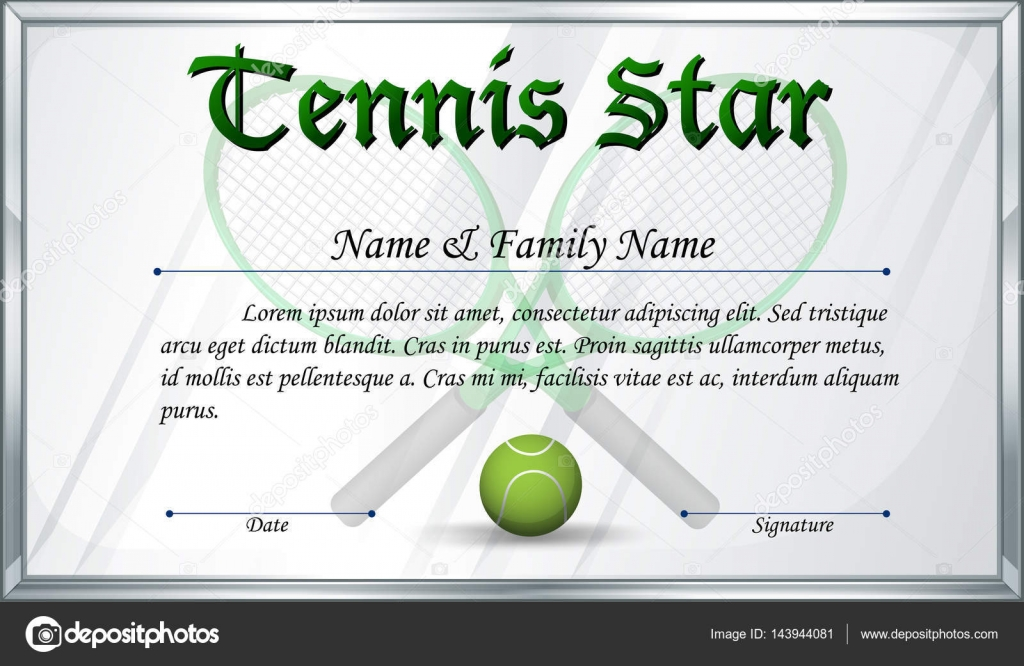 Certificate template for tennis star stock vector certificate template for tennis star illustration vector by interactimages yadclub Choice Image