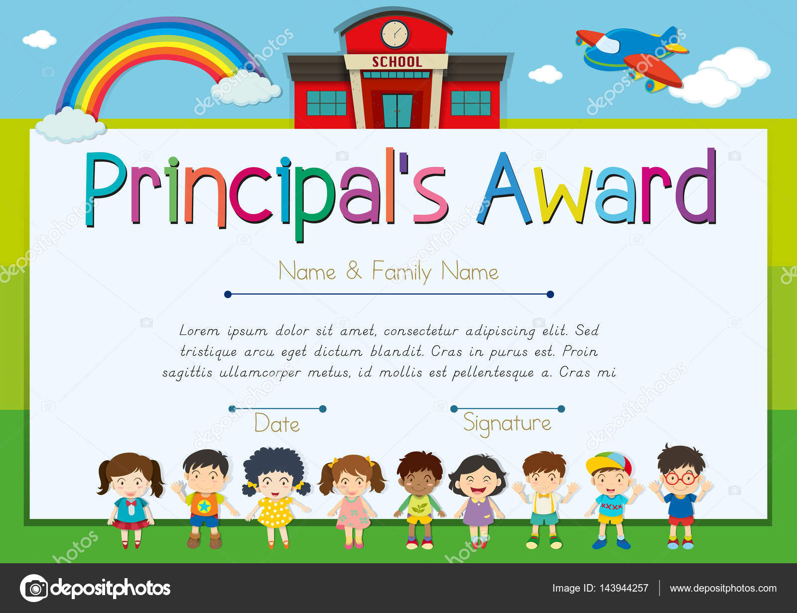 Certificate template for principal39s award stock vector c interactimages 143944257 for Principal s list award