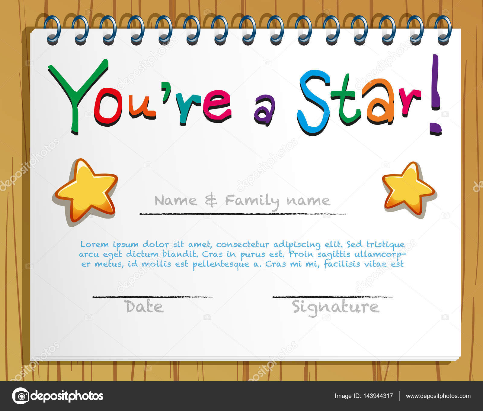 Certificate Template With Stars Stock Vector Interactimages