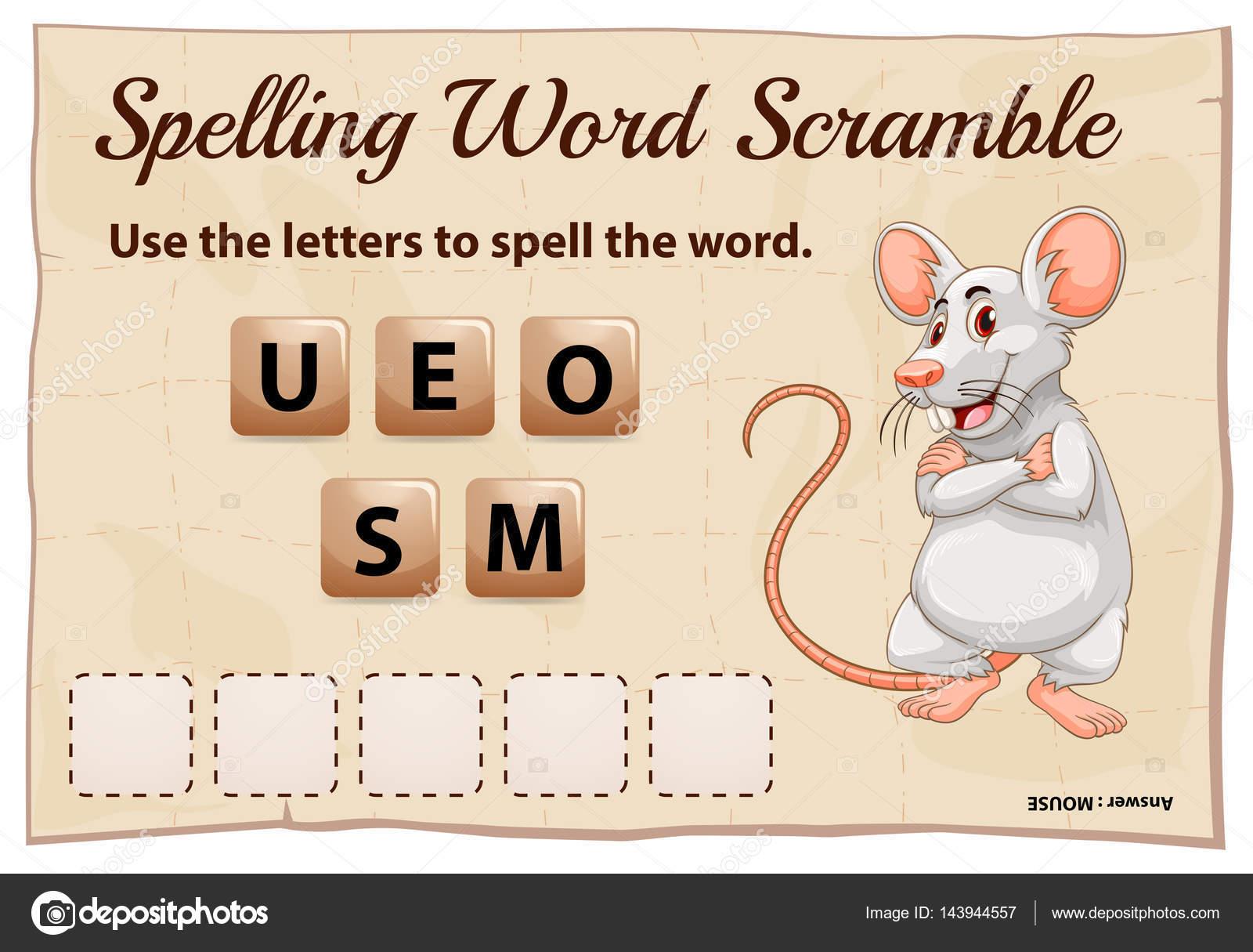 Rechtschreibung Word Scramble Spiel-Vorlage für Maus — Stockvektor ...