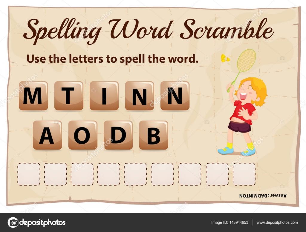 Juego de scramble ortografía palabras con bádminton de palabra ...