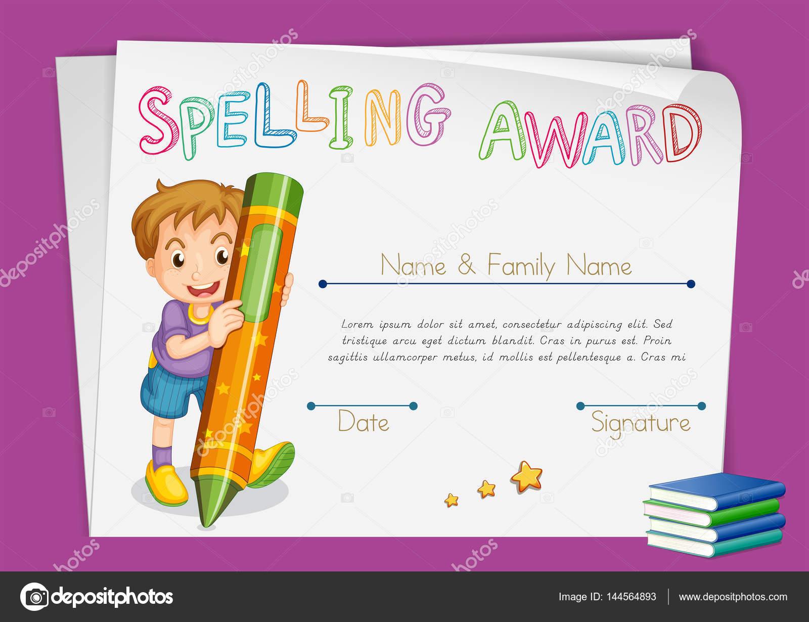 Rechtschreibung Award Zertifikatvorlage mit Kindern und Kreide ...