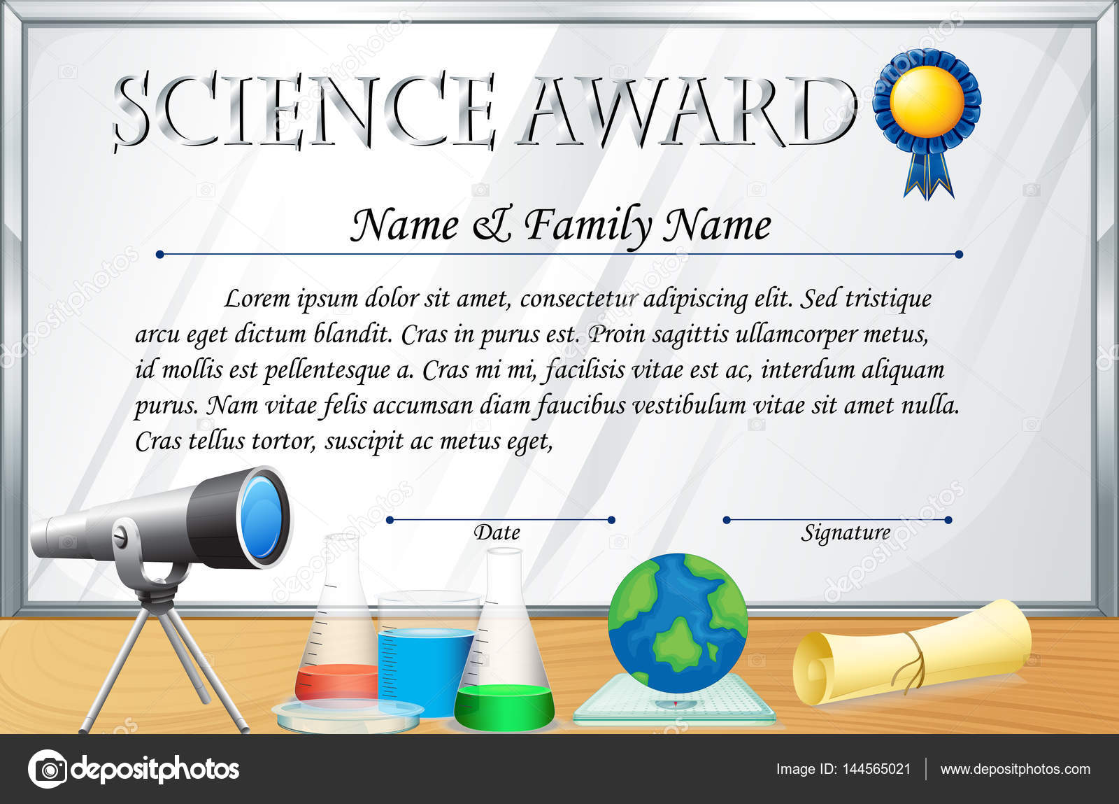 Certificate template for science award stock vector certificate template for science award illustration vector by interactimages yelopaper Images