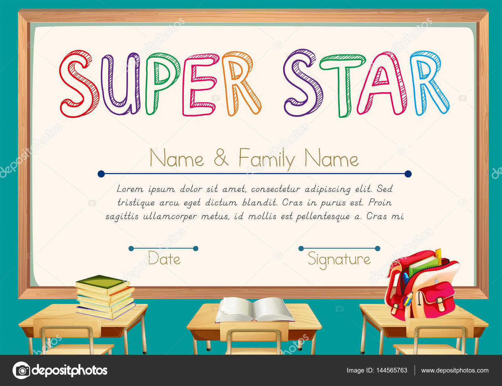 Certificate template for super star with classroom background certificate template for super star with classroom background illustration vector by interactimages 1betcityfo Gallery