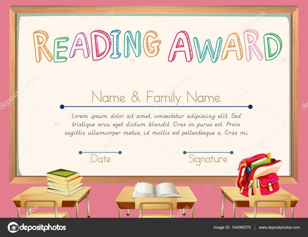 Zertifikat-Vorlage für das Lesen award — Stockvektor ...