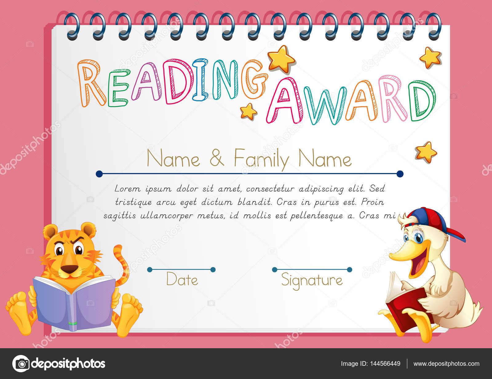 Lesen Award Vorlage mit Tieren, die Bücher zu lesen — Stockvektor ...