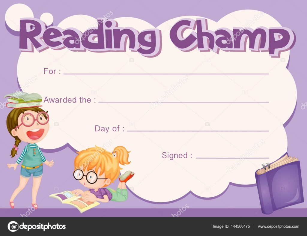 Certificate template for reading champ with purple background certificate template for reading champ with purple background illustration vector by interactimages alramifo Images