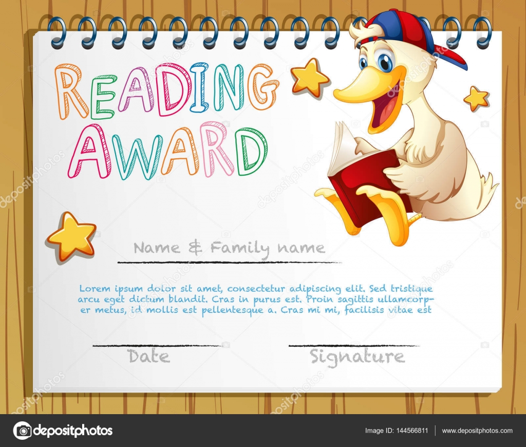 Reading award template with duck reading book stock vector reading award template with duck reading book stock vector alramifo Images