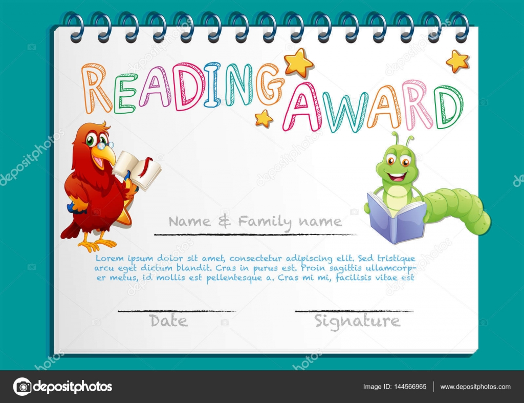 Reading award certificate template with bird reading book stock reading award certificate template with bird reading book stock vector yadclub Choice Image