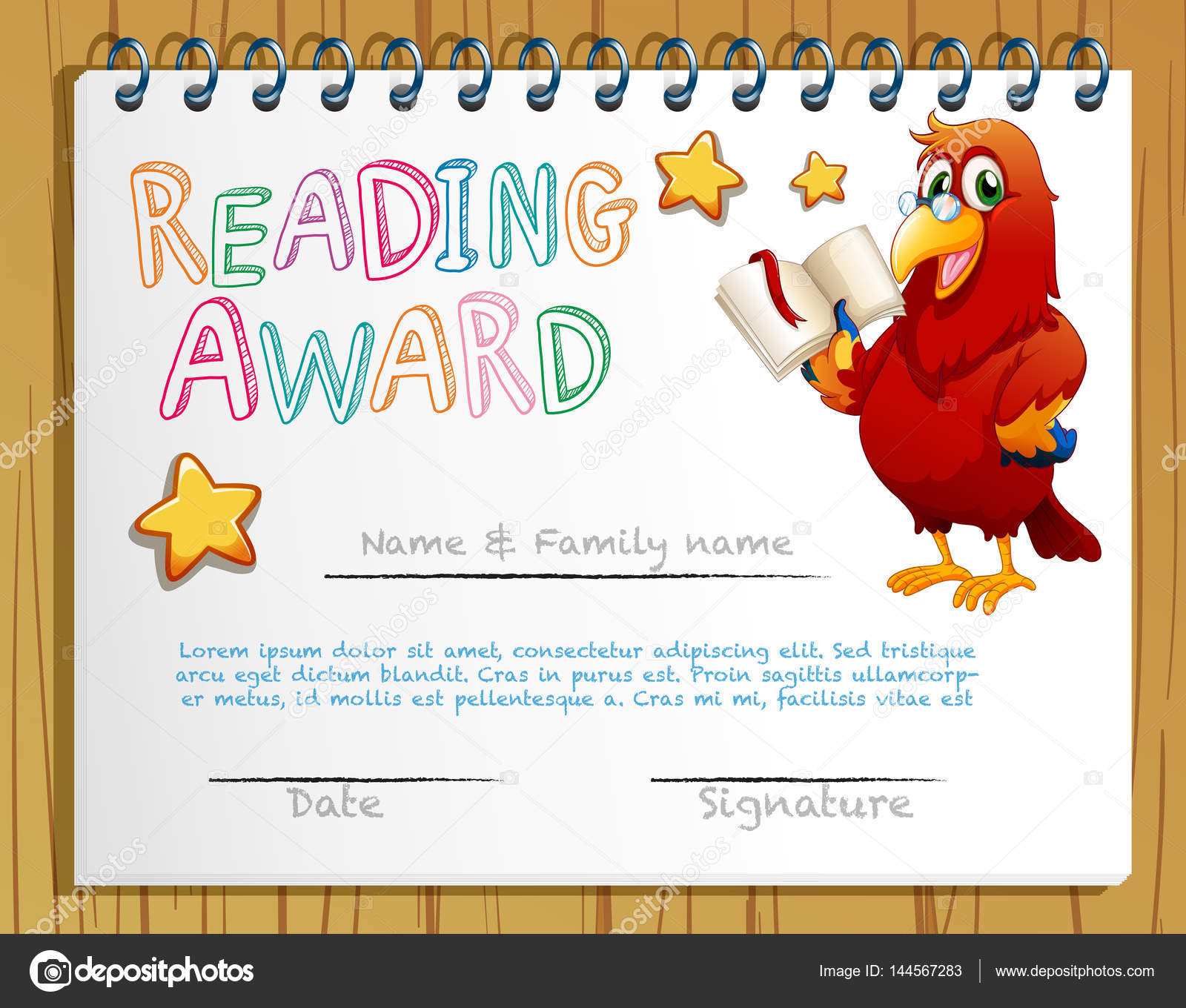 Certificate template for reading award stock vector certificate template for reading award illustration vector by interactimages yadclub Gallery