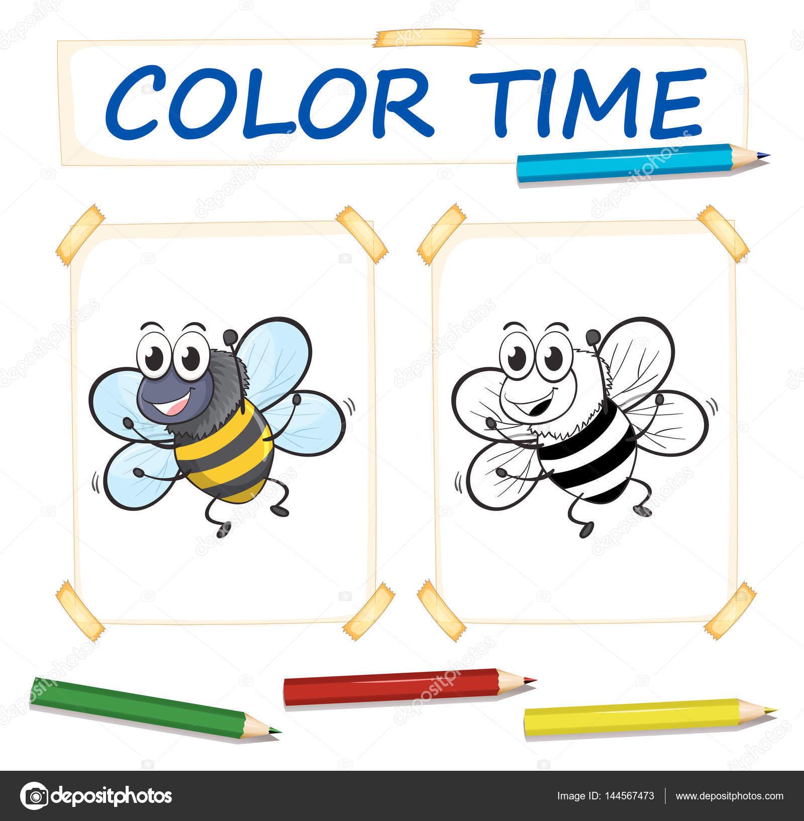 Plantillas para colorear con abeja volando — Archivo Imágenes ...