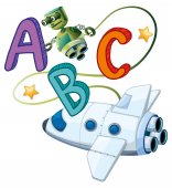 ABC poster with robot and spaceship