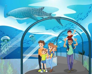 Many families visiting aquarium