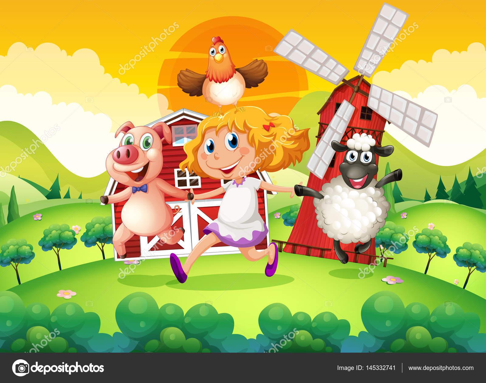 女の子と動物農場のシーン — ストックベクター © interactimages #145332741