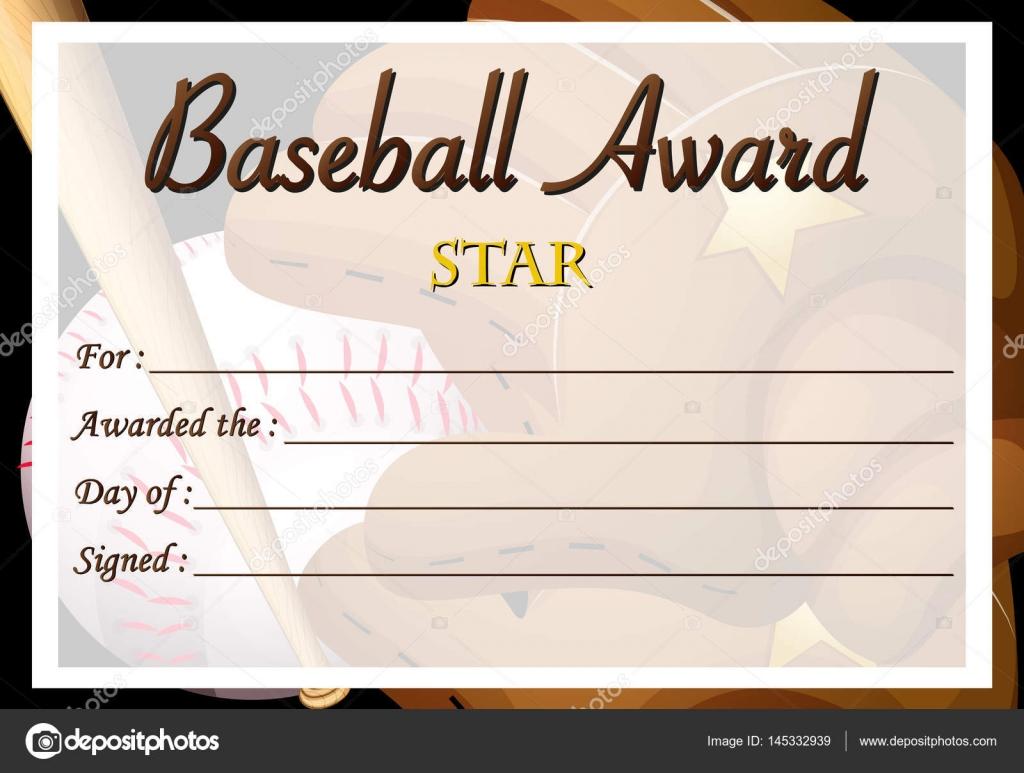 Plantilla de certificado de premio de béisbol — Archivo Imágenes ...