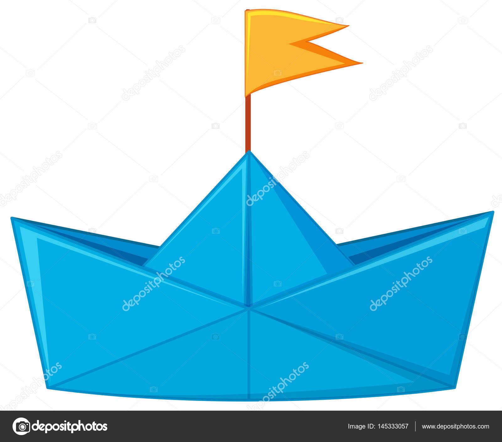 bateau en papier bleu avec drapeau jaune image. Black Bedroom Furniture Sets. Home Design Ideas