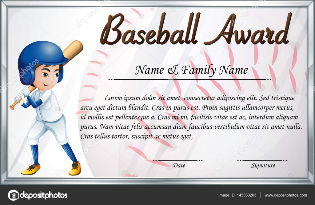 Certificate template for baseball award with baseball player bac certificate template for baseball award with baseball player bac stock vector yadclub Choice Image