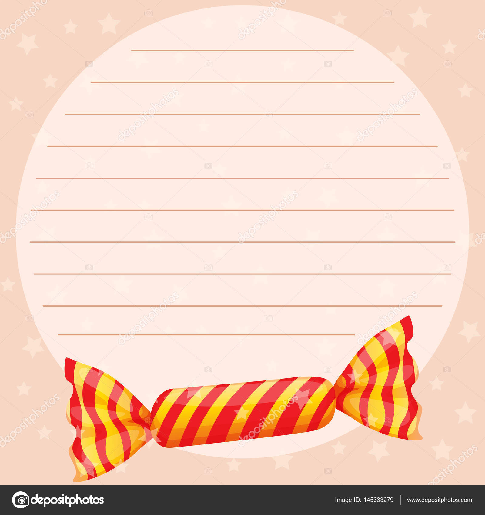 Plantilla de papel la línea con el dulce caramelo — Vector de stock ...