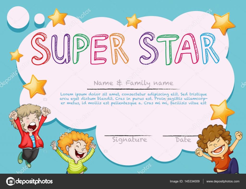 Plantilla Premio super estrella con niños en fondo — Archivo ...