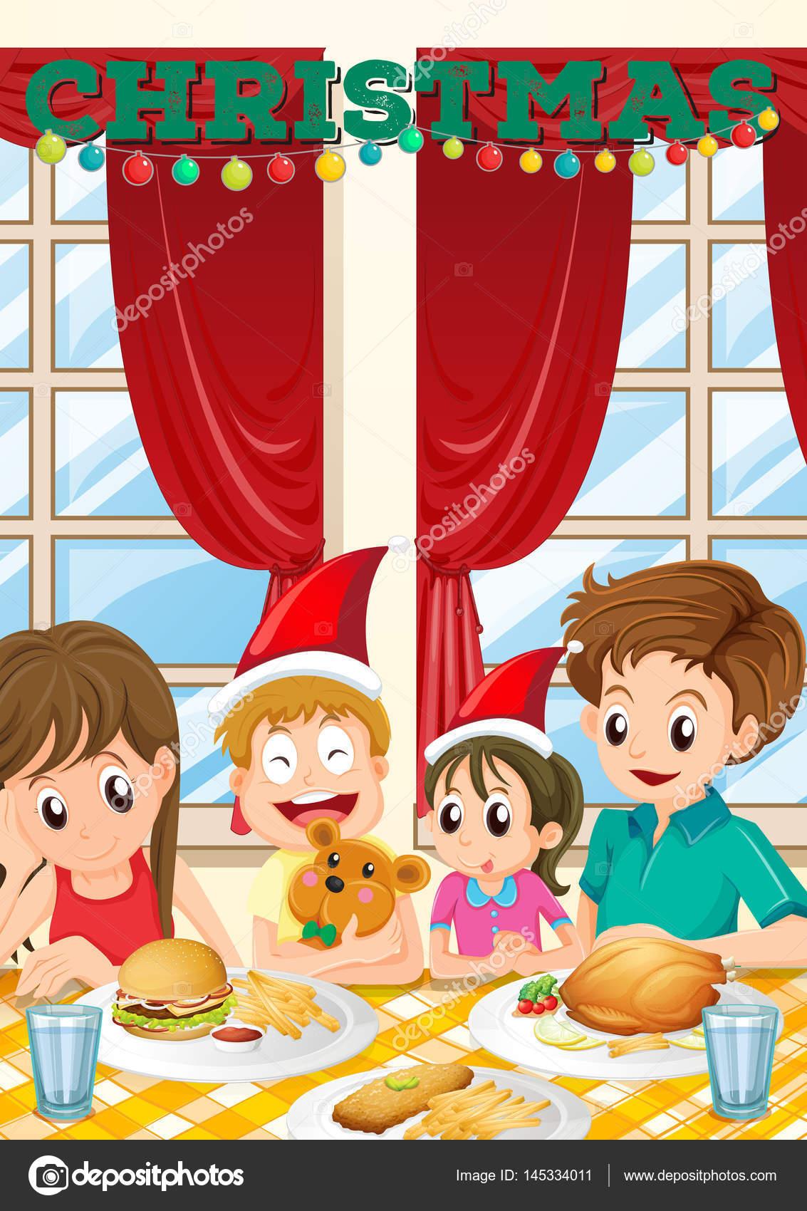 Szene mit Familie mit Essen an Weihnachten — Stockvektor ...