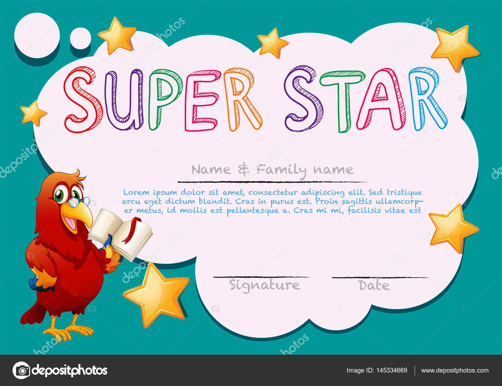 Certificate template for super star stock vector certificate template for super star illustration vector by interactimages 1betcityfo Images