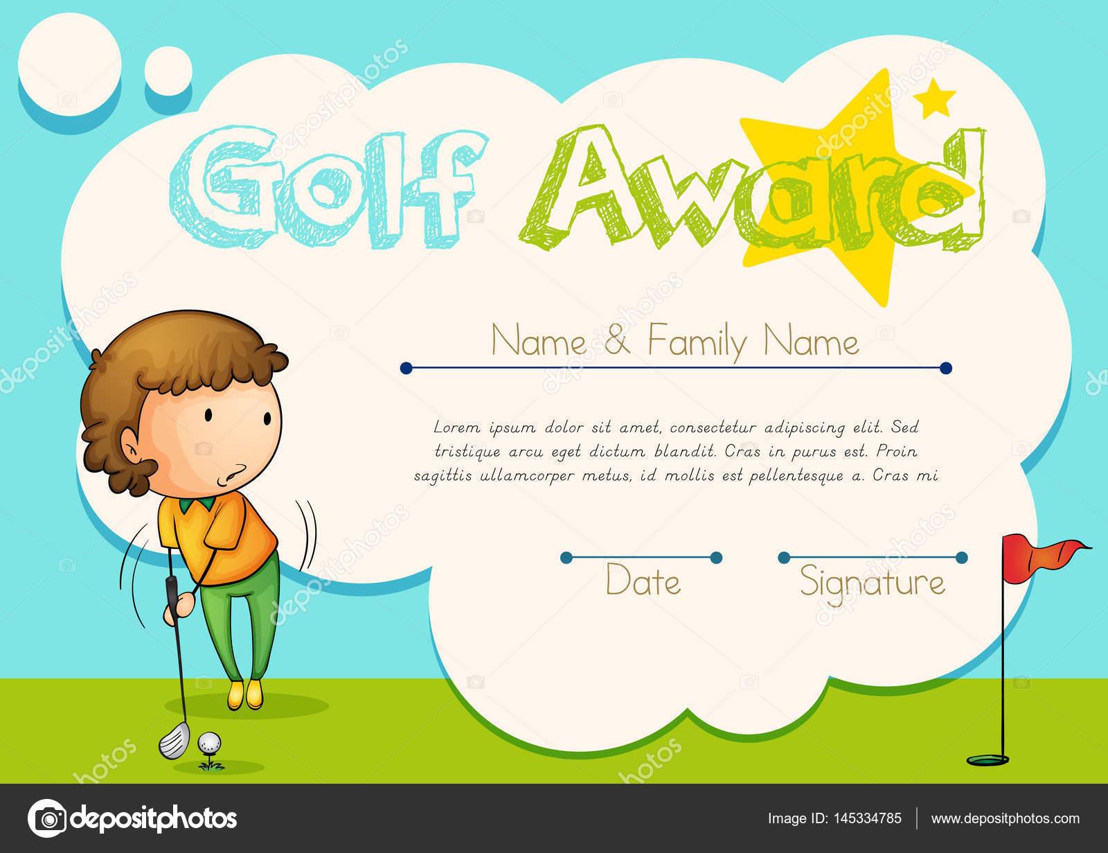 Zertifikatvorlage für Golf award — Stockvektor © interactimages ...