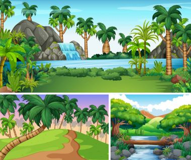 Three scenes of river and waterfall