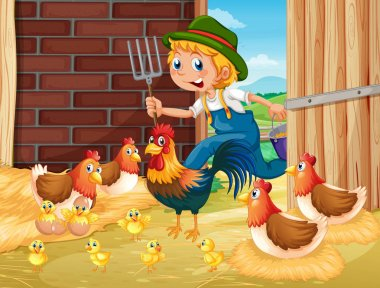 Farmer and chickens in the barn