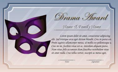 Certificate template for drama award