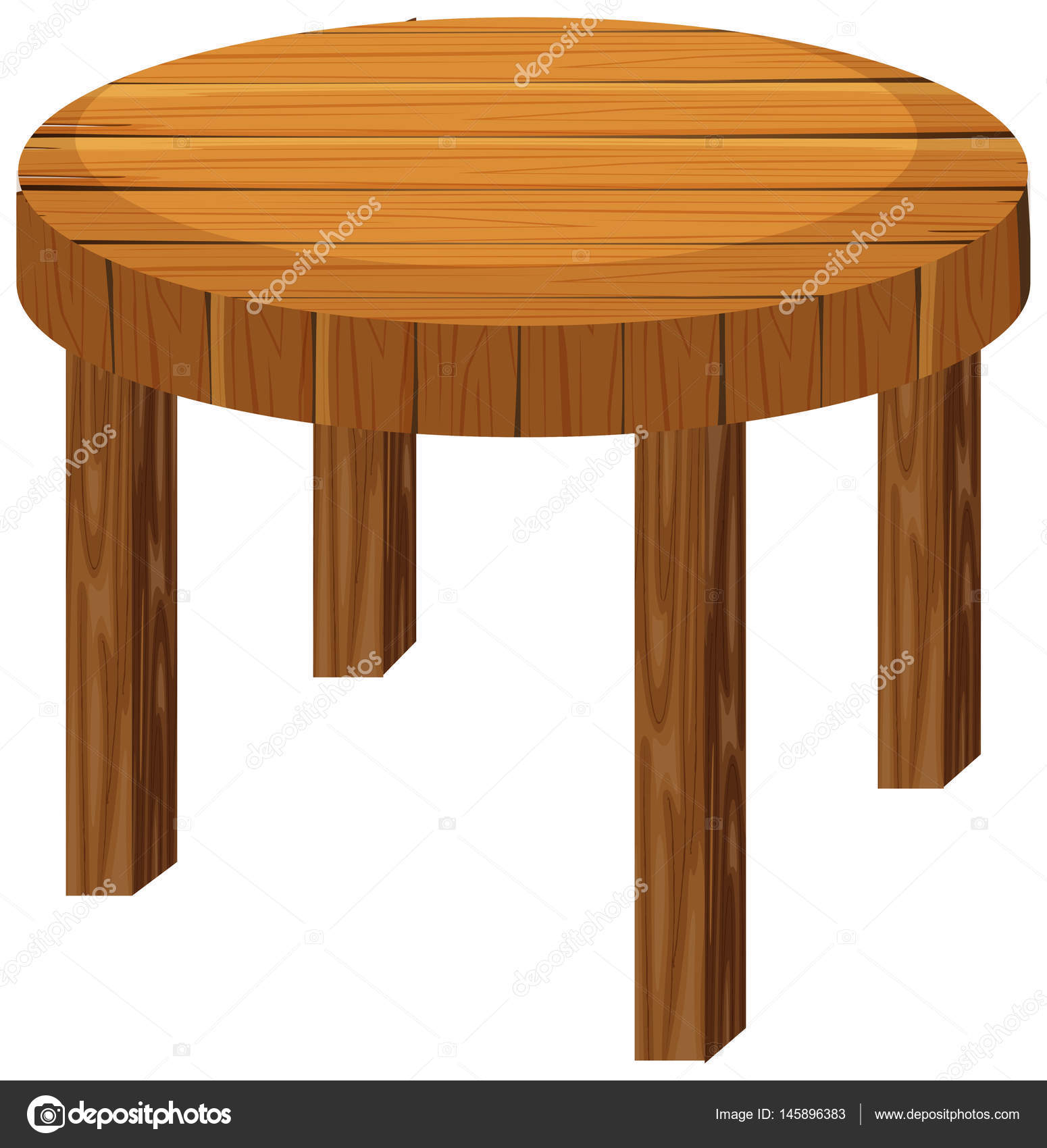 Picture of: Clipart Circle Table Round Wooden Table On White Background Stock Vector C Interactimages 145896383