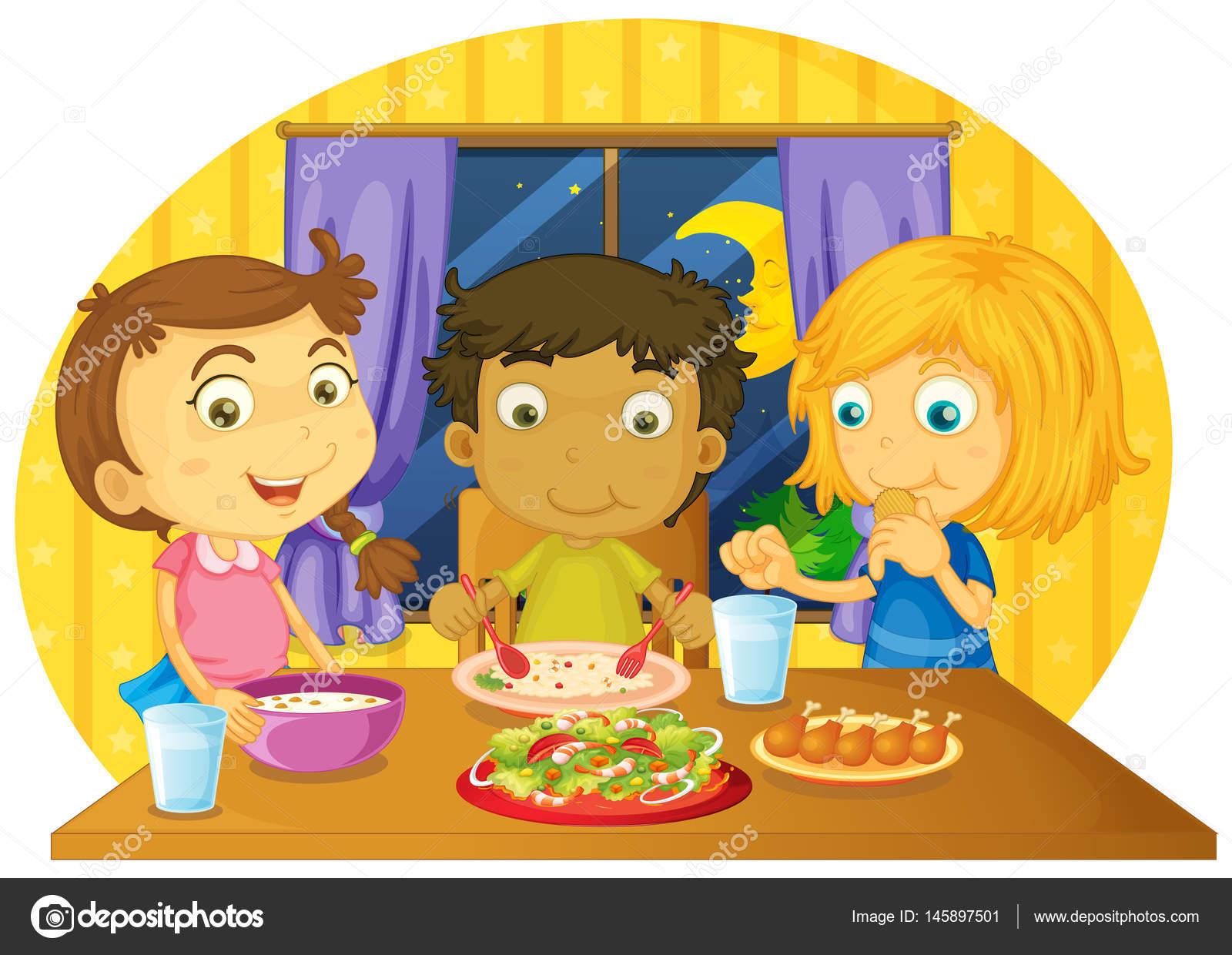 Drei Kinder Mit Essen Auf Dem Tisch Stockvektor Interactimages