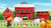 Chlapec a hospodářských zvířat na farmě