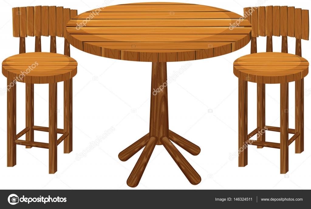 Ronde houten tafel en stoelen u stockvector interactimages