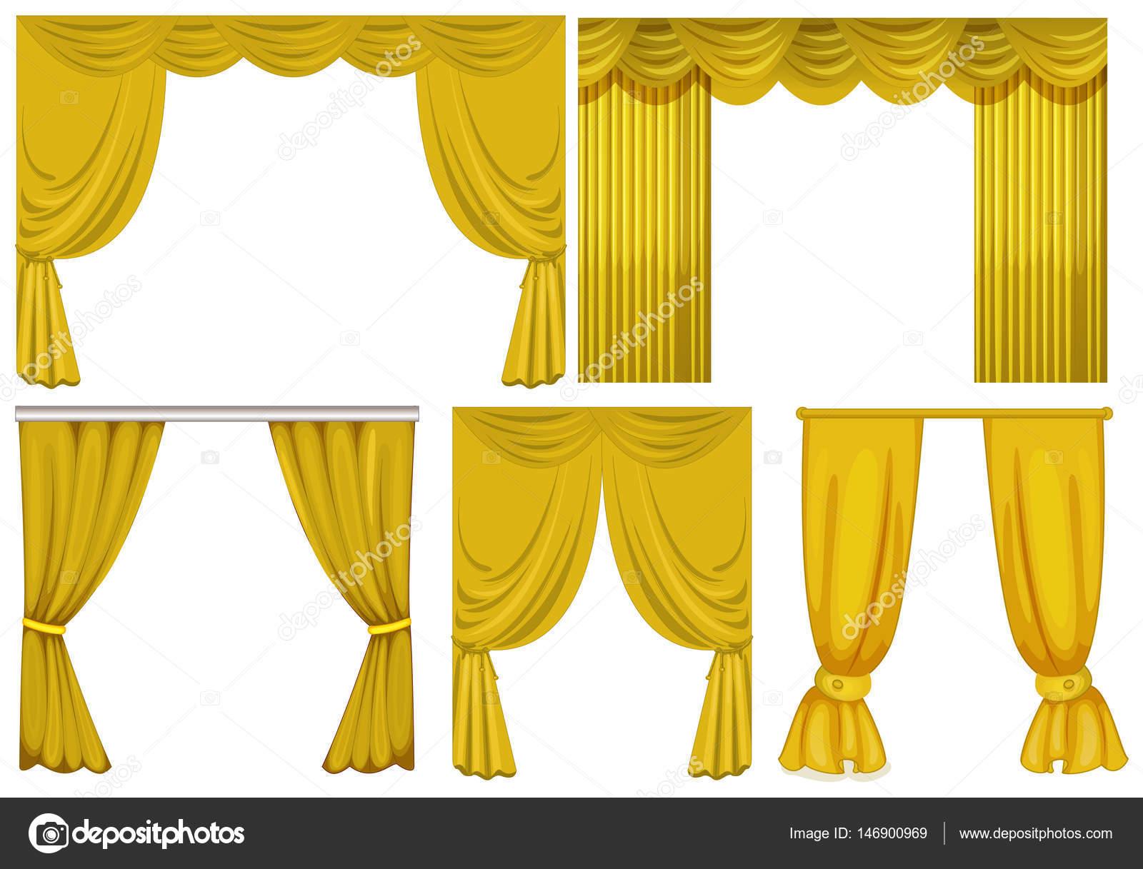 gele gordijnen op witte achtergrond stockvector
