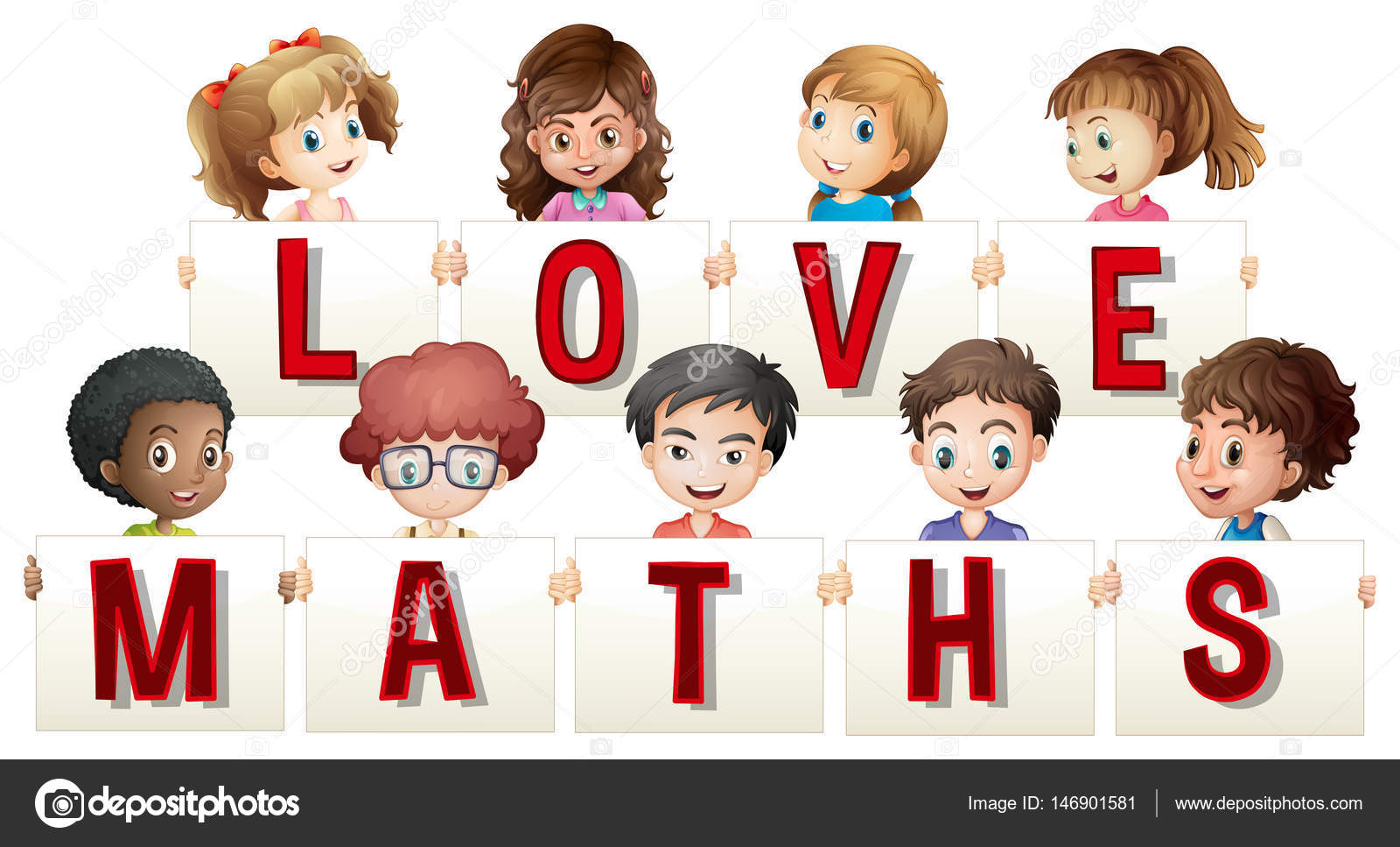 Children holding love maths sign — Stock Vector © interactimages ...
