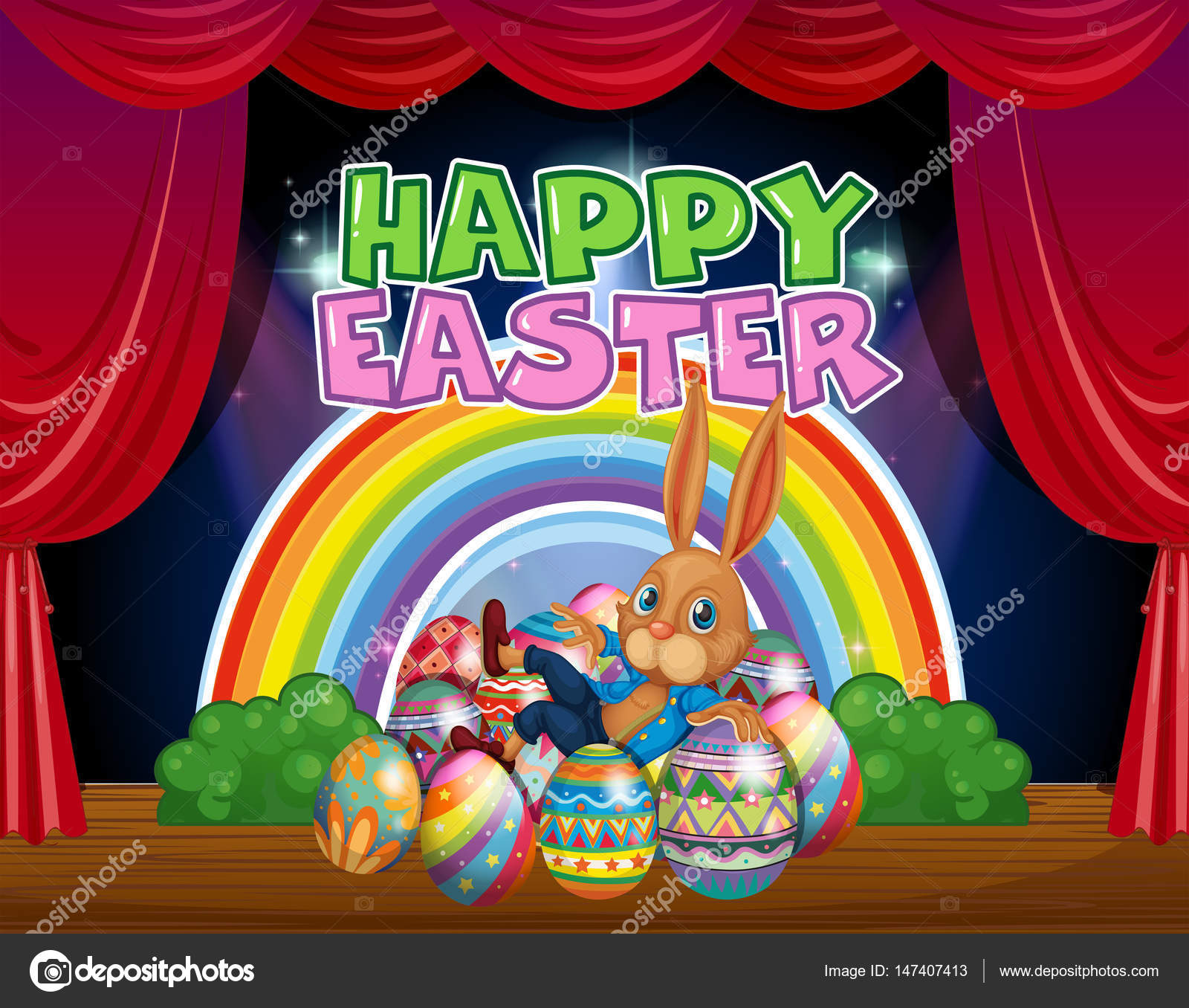 happy easter card template with bunny and eggs stock vector