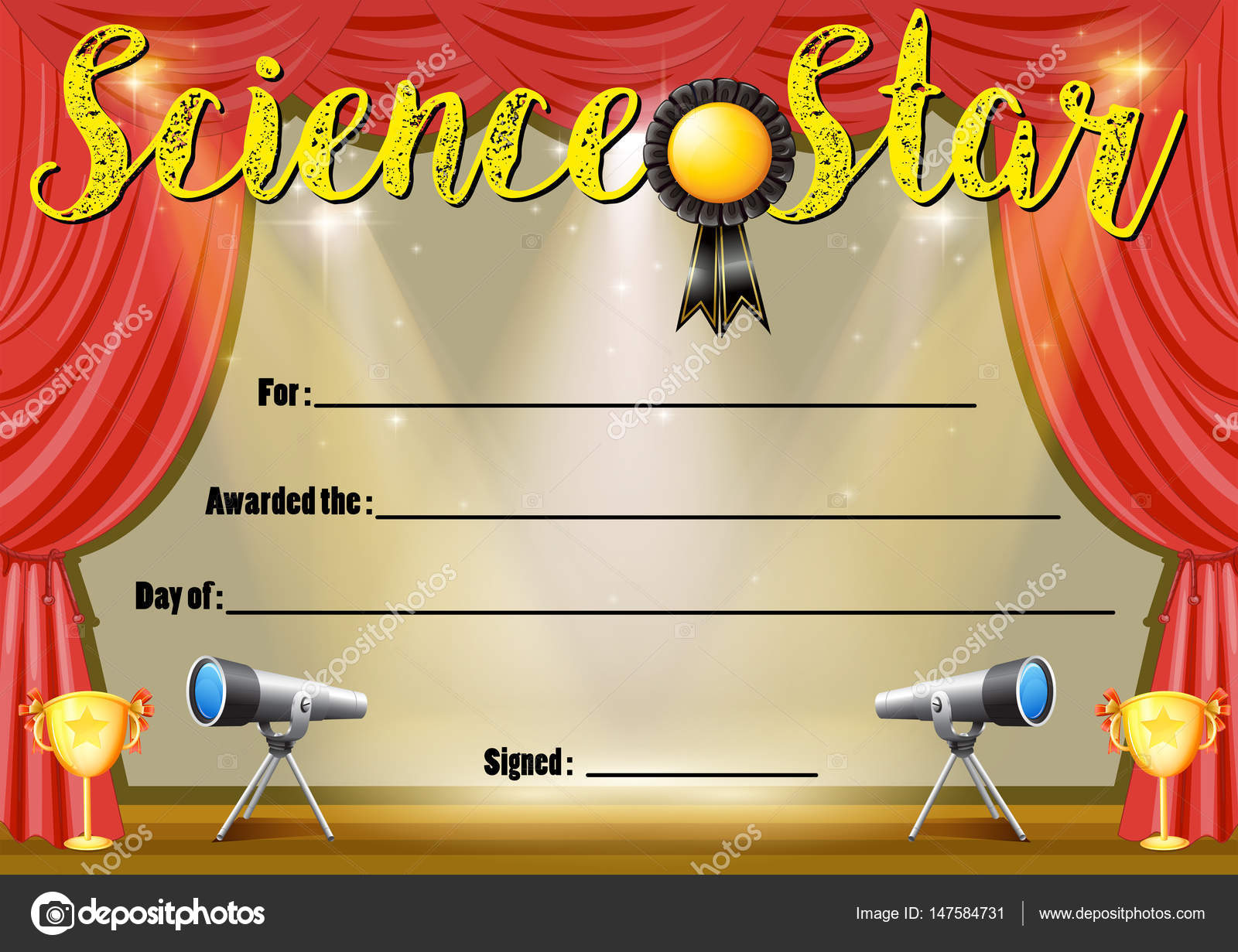 Certificate Template For Science Star Stock Vector