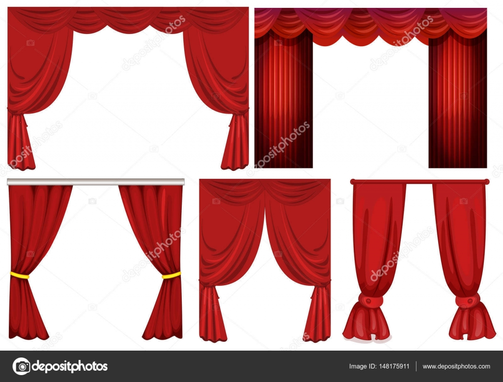 Different Designs Of Red Curtains Stock Vector