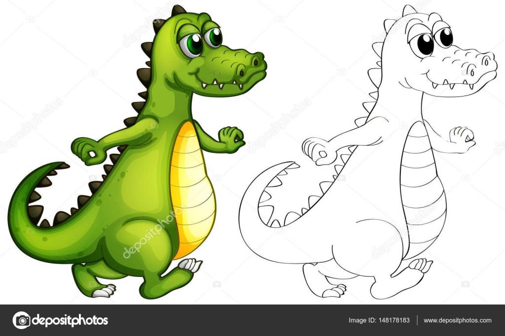 Animal esquema de cocodrilo caminando — Vector de stock ...