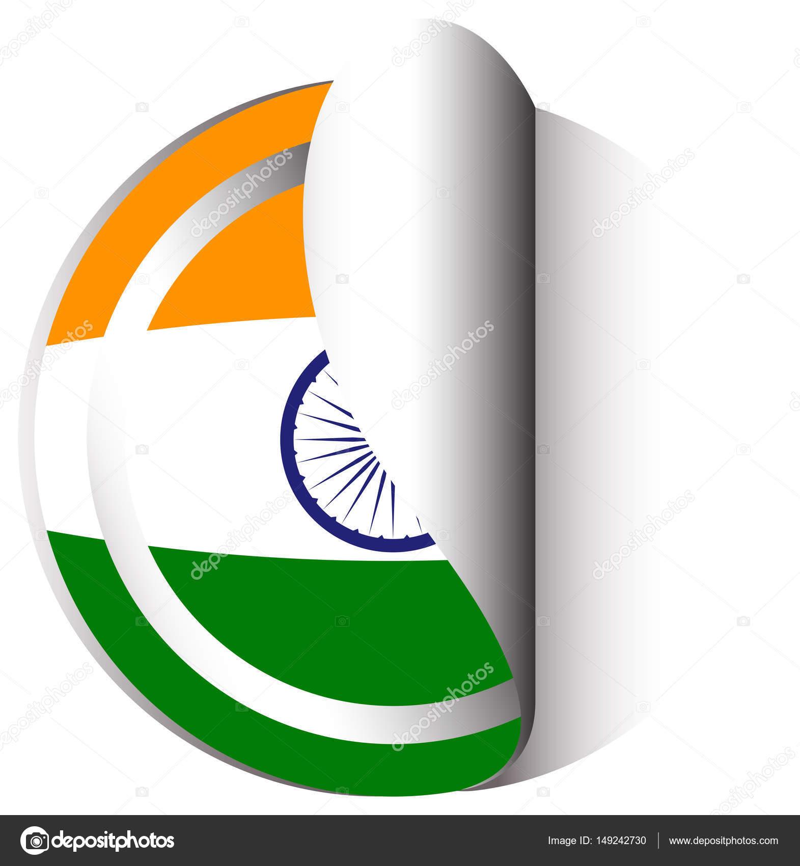 Plantilla de etiqueta engomada de la bandera de India — Vector de ...